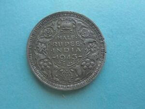 India-George-VI-1943-Half-Rupee-Good-Condition
