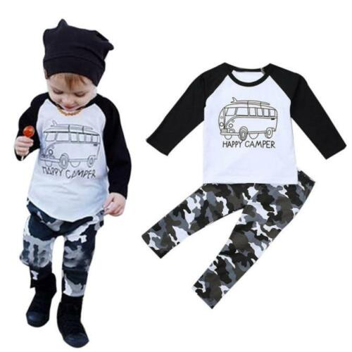 2PCS Kids Toddler Baby Boy Tops T-shirt+Long Pants Fall Winter Outfit Clothes