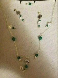Made-With-Swarovski-Crystal-amp-Antique-Beads-Earrings-amp-Necklace-Handcrafted