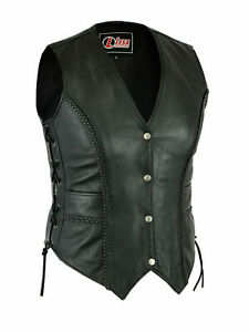 Ladies-Real-Leather-Motorcycle-Vest-Womens-Waistcoat-Gilet-Biker-Sleeveless