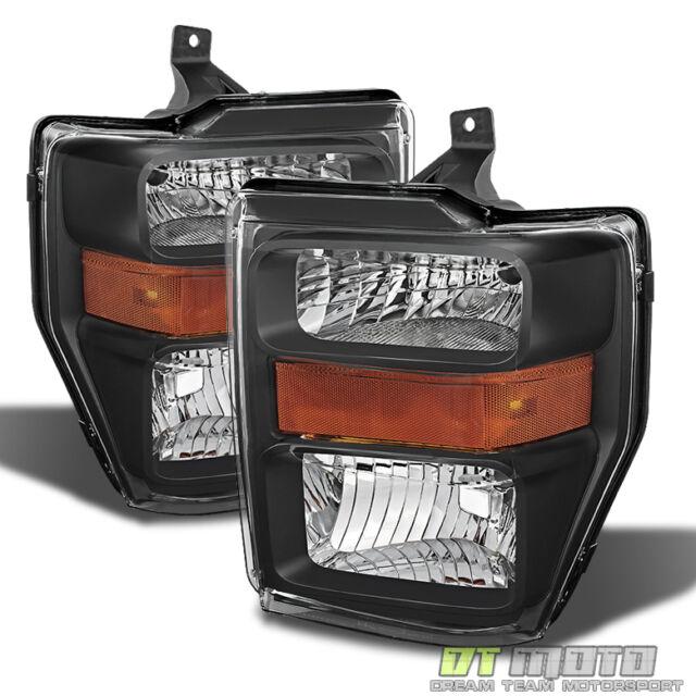 Black Ford 08-10 F250 F350 F450 F550 Superduty Headlights Left+Right 2008-2010