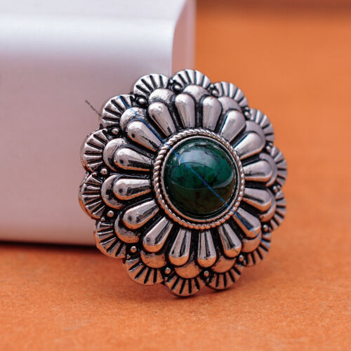 10X 30mm SILVER WESTERN FLOWER GREEN BEAD CONCHO FOR LEATHERCRAFT SADDLE GARMENT