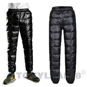 Mens Womens Ultralight Puffer 90% Duck Down Pants Winter Outdoor Down Trousers