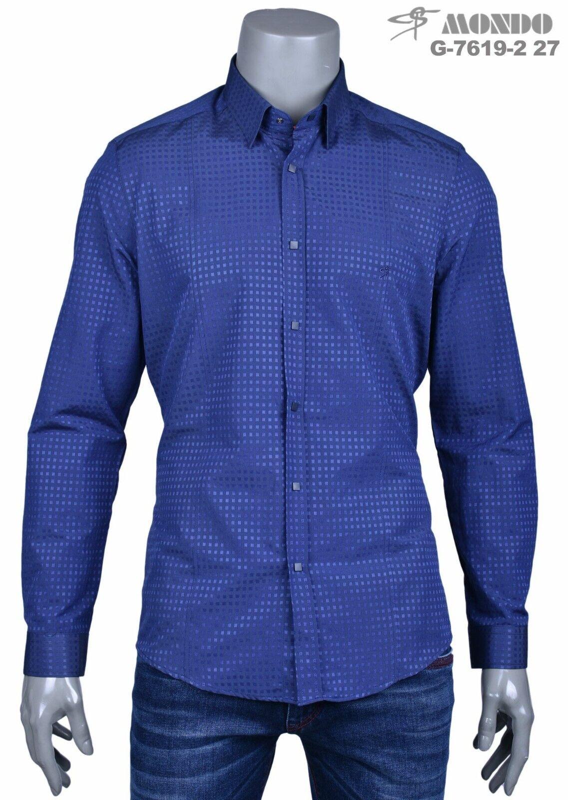 Mondo Uomo Moda lungo   Camicia Maniche Blu Navy Squared Motivo a Scatto Bottoni