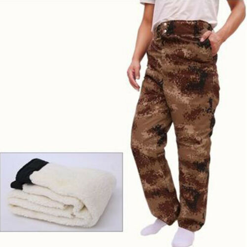 Mens Outdoor Sheep Fur Warm Winter Pants Leather Windproof Trousers Plus Size
