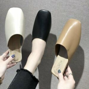 Women-039-s-Mules-Sandals-Block-Low-Heels-Slippers-Square-Toe-Casual-Shoes-US4-5-8
