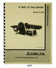 Delta Oscillating Edge Sander Model 31 396 Instruction Amp Parts List Manual 2075