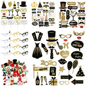 22PCS 2020 New Year/'s Eve Party Card Masks Photo Booth Props Supply Decorations