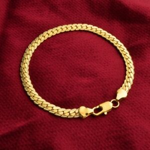 Punk-Unisex-18K-Gold-Plated-Flat-Snake-Bone-Curb-Chain-Bangle-Bracelet-Jewery-UK