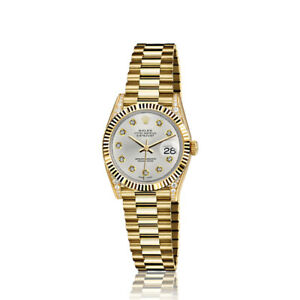 Rolex-26mm-Presidential-18kt-Gold-Metallic-Silver-Diamond-Dial-Lugs-6917