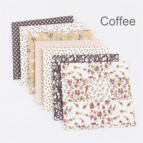 7X Assorted Color Cotton Cloth Fabric Sheets Patchwork Sewing DIY Craft 25x25cm