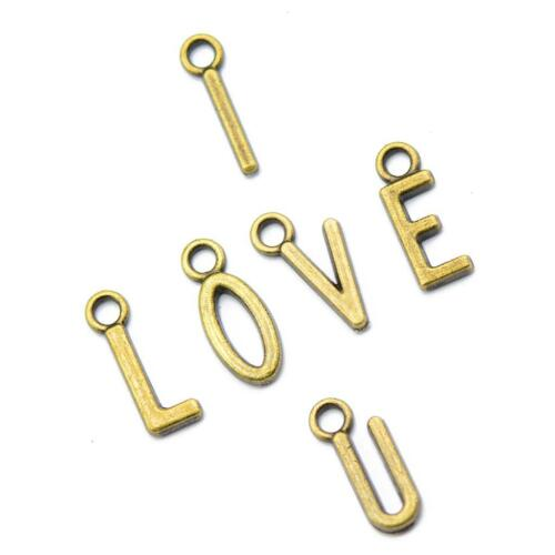 100pcs Bronze Alloy Alphabet Charms Pendants Letter Beads for Jewelry Making