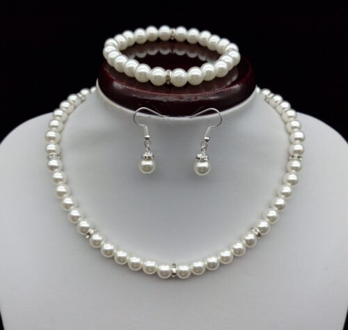 White Pearl Crystal Necklace & Earrings & Bracelet Set Wedding Party Jewelry Set