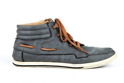 aldo high top sneakers men's 105 gray brown casual shoes