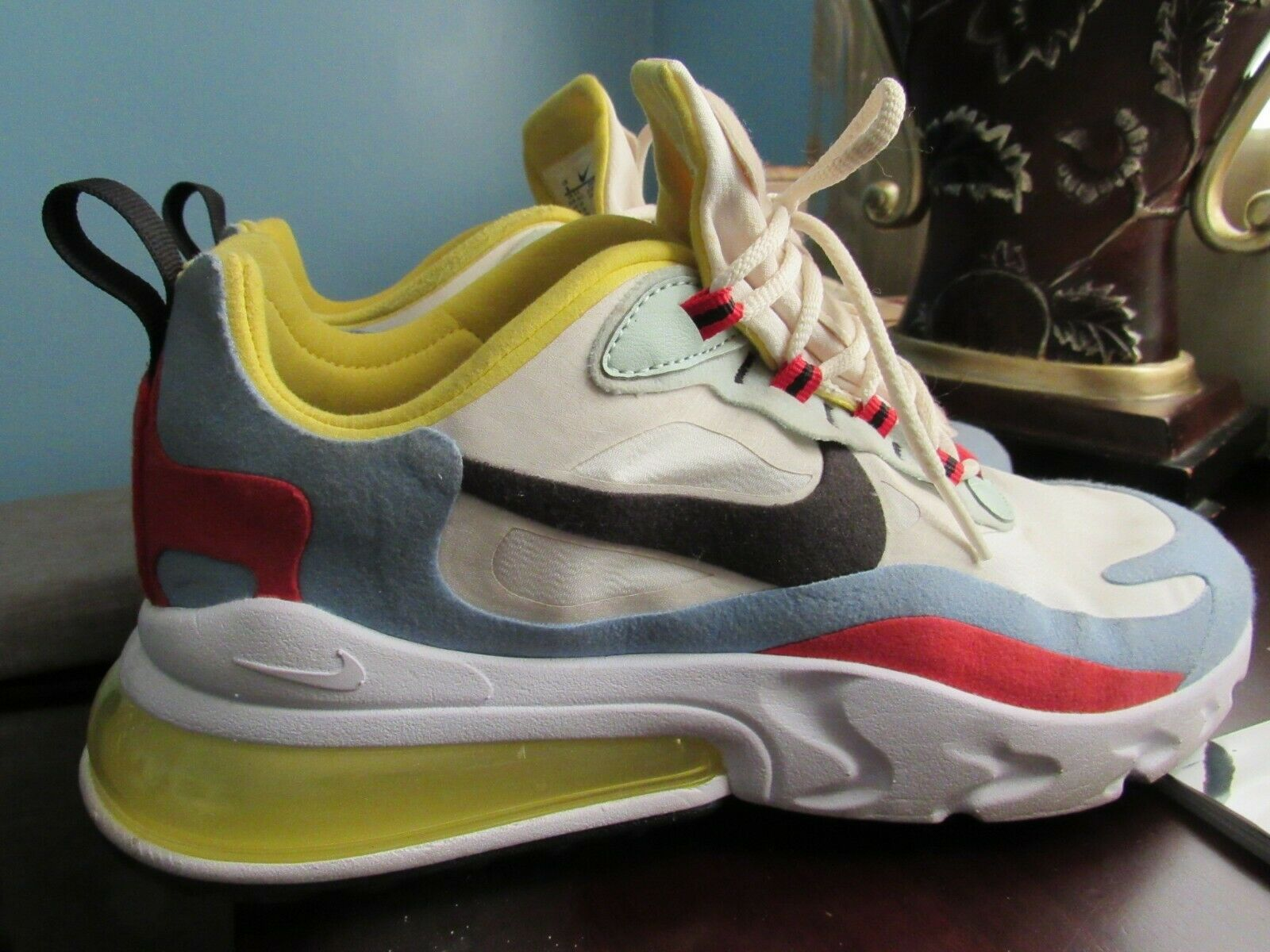 Nike Womens Air Max 270 React Shoes Size 9 Blue White Red Yellow