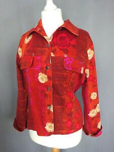 nouveau concept ee897 e00ab Details about Jolie Veste jean femme Carla Kops rouge motif fleure Taille 3  FR42 US10 UK14