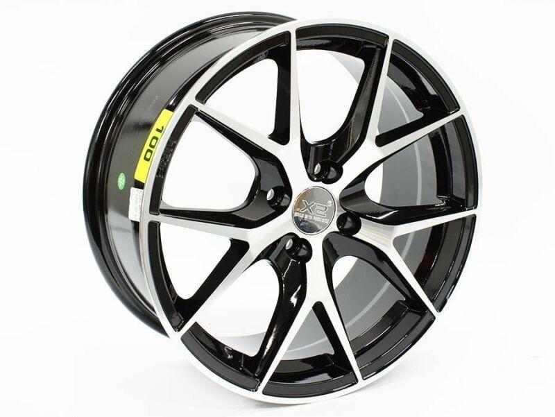 17 R-Line X2-035 4-100 Black Machined Face Alloy Wheels – 4-100 pcd – 35 offset – CB60.1 – 7.5j widt