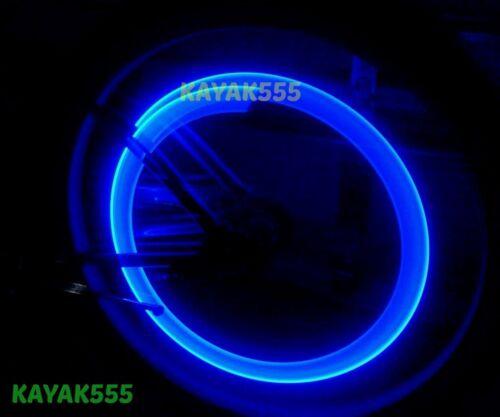 2 BIKE RACING CYCLING VALVE STEM RIM LIGHTS NEON LED GLOW 4 SAFETY MOUNTAIN BIKE