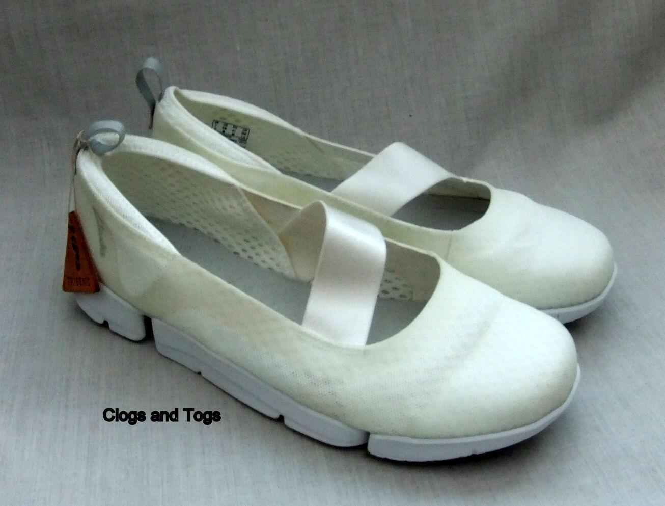 NEW CLARKS TRIGENIC TRI SKIPP Damenschuhe Weiß MESH Schuhe SIZE 7 / 41