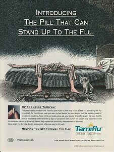 """2000 PRINT AD FOR TAMIFLU-""""THE PILL THAT CAN STAND UP TO THE FLU""""-ARTIST SIGNED."""