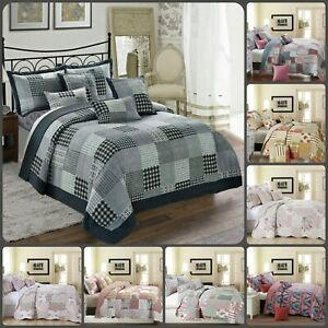 3Pcs Printed Patchwork Quilted Bedspread with Pillow Shams Bedding Set All Size
