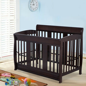 Image Is Loading Coffee Pine Wood Baby Toddler Bed Convertible Crib
