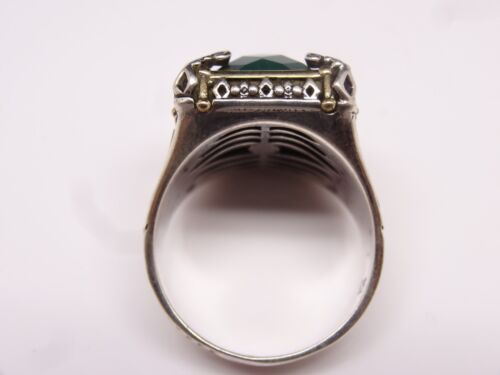 Turkish handmade 925 Sterling Silver emerald Stone Mens man ring ALL SİZE us #45