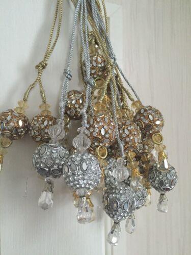 Gold Silver Dupata Bridal Suit Latkan Dangle Tassel Saree Blouse Latkan-Multi