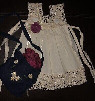50 cm 2 Teile Orchidee-Puppenmode Kleid+Tasche dunkelblau-beige