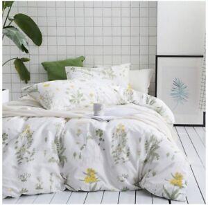 Botanical-Duvet-Cover-Set-100-Cotton-Yellow-Flowers-amp-Green-Leaves-3pcs-FULL