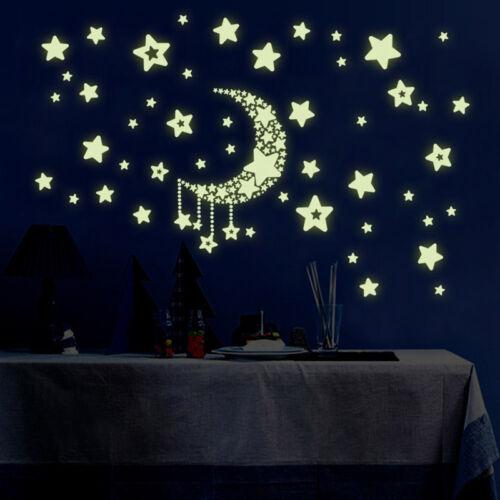 Creative Luminous Stars Moon Fluorescent PVC Wall Stickers Mural Decal Decor m