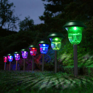 outdoor plastic solar light color changing led lawn garden pathway 4x ebay. Black Bedroom Furniture Sets. Home Design Ideas