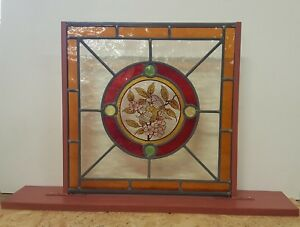 Stained Glass Hand-Painted Bird Center With Raised Jewels