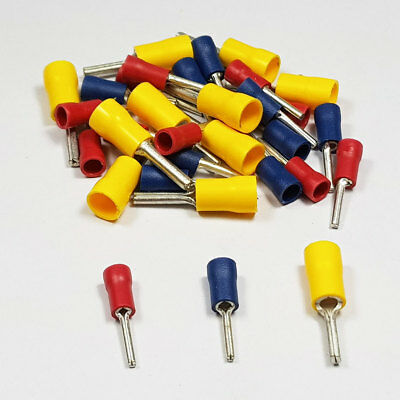 Insulated Blue Straight Pin Terminal Connector Terminals Crimp Electrical