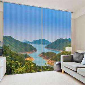 Fiume-Montagne-Blue-Sky-Alberi-verdi-3D-Tenda-Bloccare-Foto-Stampa-Tendaggio