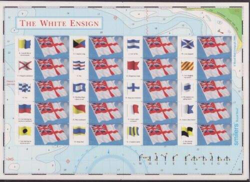 GB QEII SMILER STAMP SHEET UMM MNH 2005 THE WHITE ENSIGN FLAGS LS25
