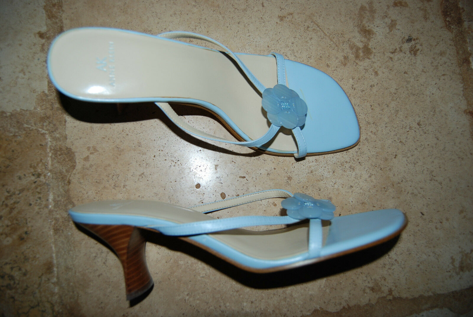 Pale Blue Strappy ANNE KLEIN Backless Open Toe Heels M w/Button Accent 9  M Heels 59badc