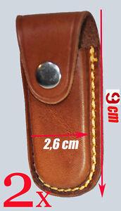2x-Lakota-Leder-Jagdmesser-Tasche-Messerscheide-Messeretui-Messerholster-9x2-6cm