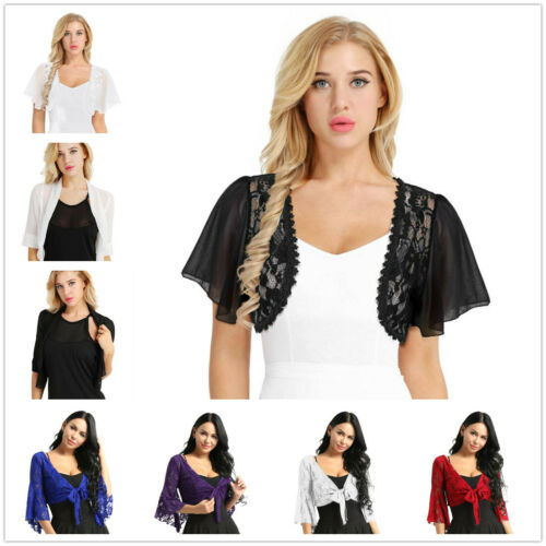 Fashion Womens PLUS Solid Short Sleeve Chiffon Lace Shrug Top Bolero Cardigan