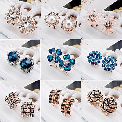 New Design Fashion Women Pearl Crystal Sapphire Gold Silver Earring Ear Stud C20