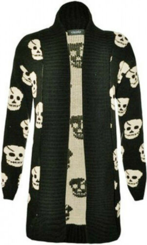 New Womens Plus Size Winter Kinnted Boy Friend Cardigans Skull Knit Jumpers 8-24