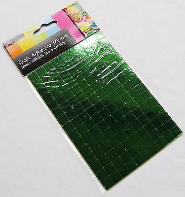 NEW 150 SELF ADHESIVE GLASS MIRROR SQUARES TILES MOSAIC ART CRAFT 1CM SIL GREEN