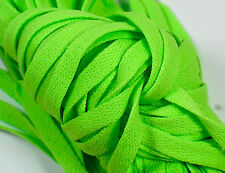 "New! 1 Pair Set Neon Green Shoelaces Shoe Strings Lace Sneakers Flat 47"" Lime"