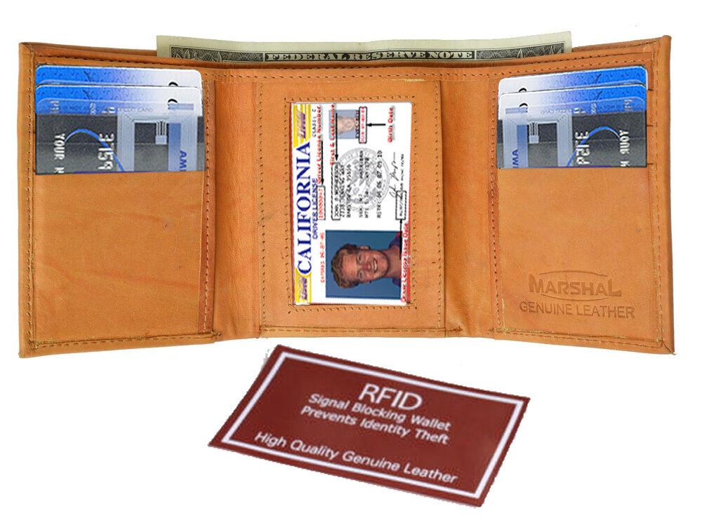 Tan RFID Blocking Men's Leather Trifold Thin Wallet U.S Seller