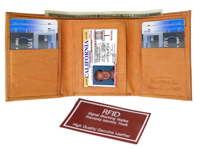 Tan RFID Scan Blocking Men's Leather Trifold Wallet U.S Seller