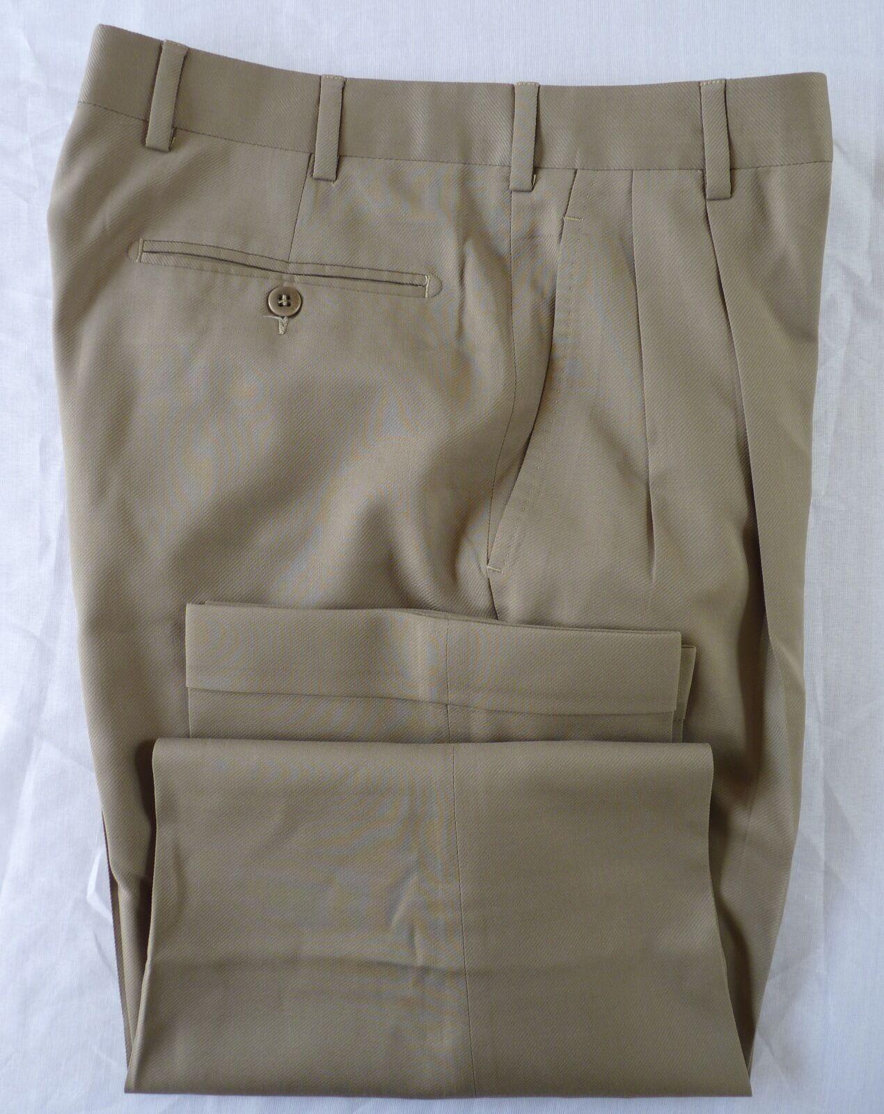 Zanella Platinum Bennett Pleat Cuffed Dress Pants Wool Beige  Size 32 MINT