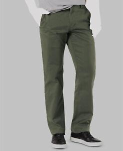 Dockers Para Hombre Con 116 Talla 38w 30l Verde Calce Recto Pantalones Flat Front Chino Khakis Ebay