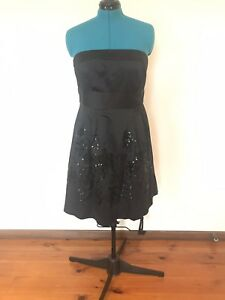 Portmans Black Strapless Dress Size 14