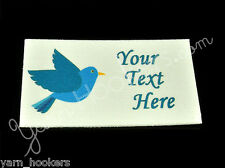 "Blue Bird - ""Iron On or  Sew In"" - Cotton Fabric Labels - Yarn Friendly"