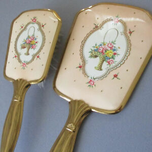 Vintage Set GILT Brass Hand MIRROR + Hair BRUSH Pale Peach w BASKETS of ROSES